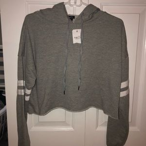 Grey Cropped Long Sleeve Shirt With Hood
